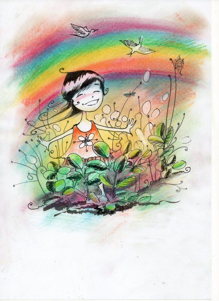 Mama, Papa ich schenke euch den Regenbogen. Ich habe euch lieb.