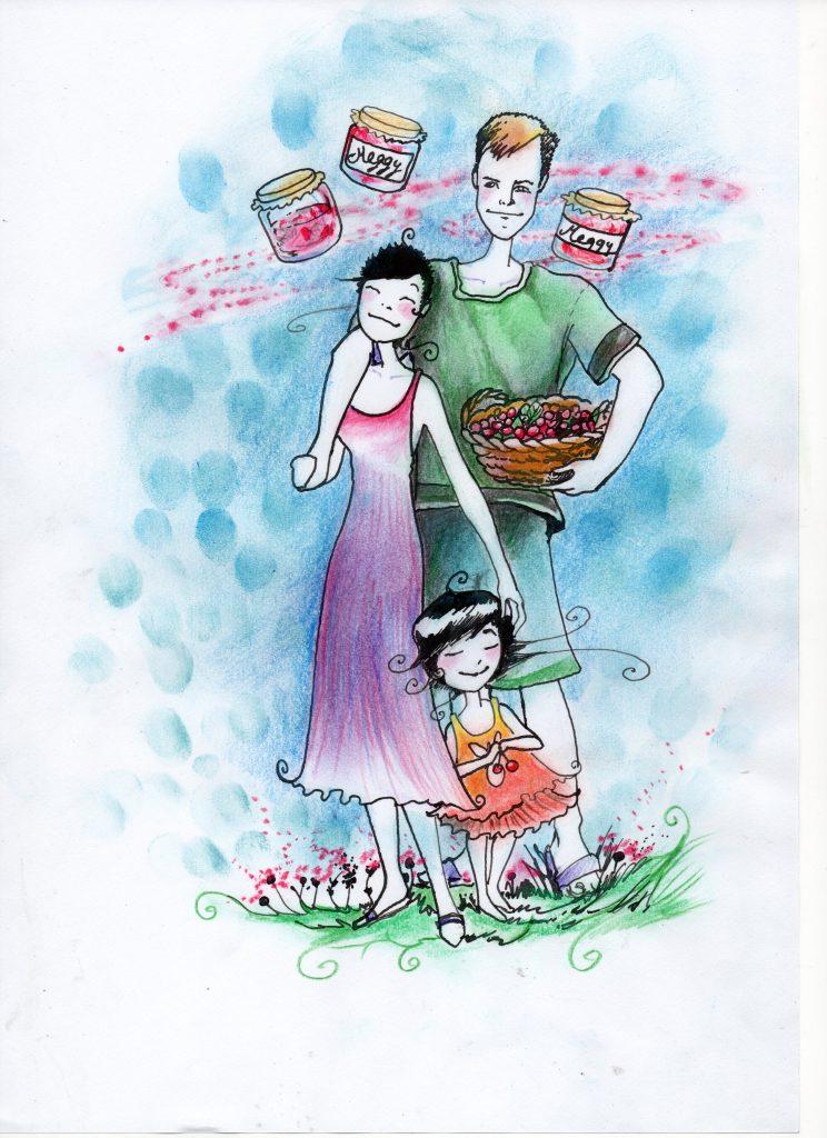 Mama und Papa sind angekommen. Ich liebe meine Eltern, meine Großeltern, natürlich auch Kirschen und Marmelade