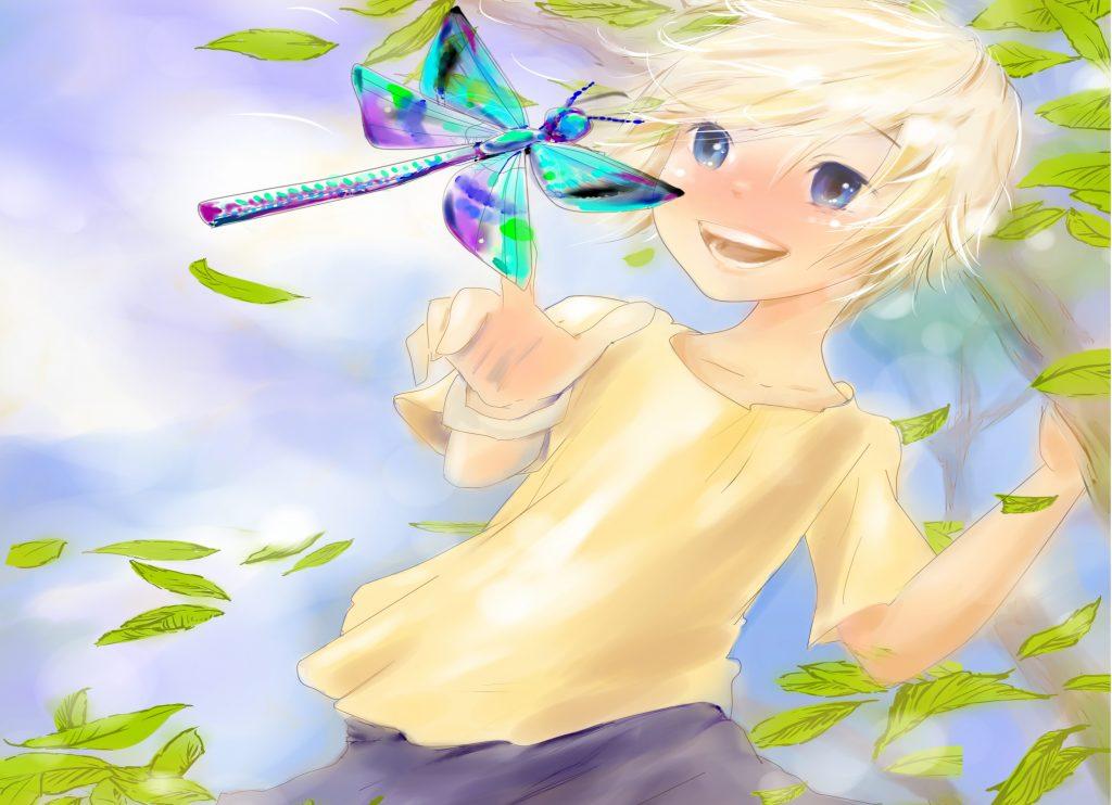 Ferdy freut sich. Auch er hat noch nie eine Libelle esehen.